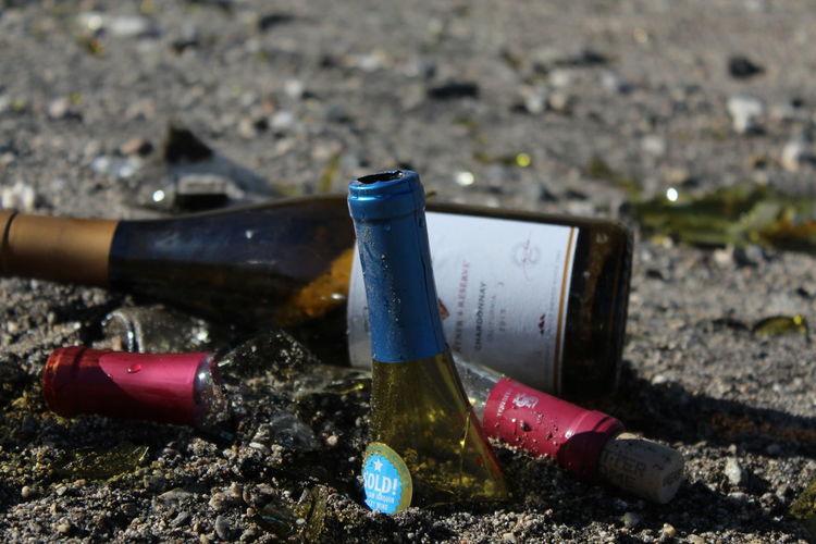 Beer Broken Bottle Broken Glass Wine Bottle Wine Glass Bottle Close-up Day Garbage No People Outdoors Wine Wineglass