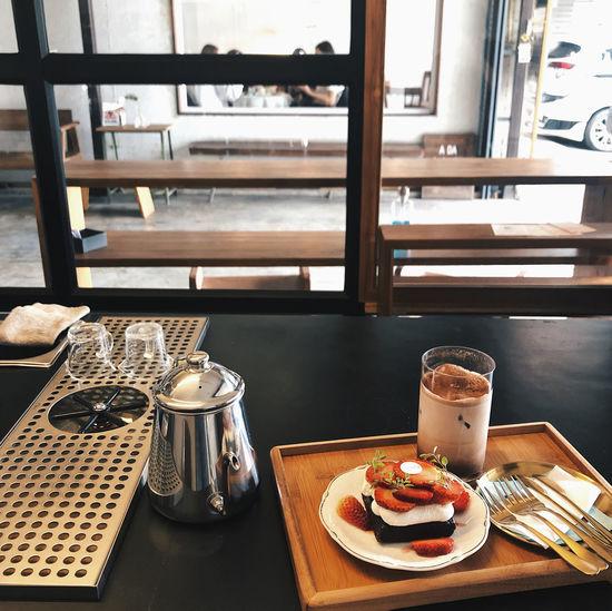 Breakfast served on table in restaurant