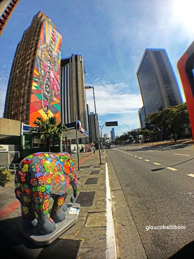 Elephant Parade in São Paulo Art And Craft Sky Street Multi Colored Outdoors Architecture Iphonephotography Saopaulo Saopaulowalk Saopaulocity São Paulo, Brasil Sao Paulo - Brazil Elephant Parade Brazil Streetphotography Streetphoto_color Avenida Faria Lima