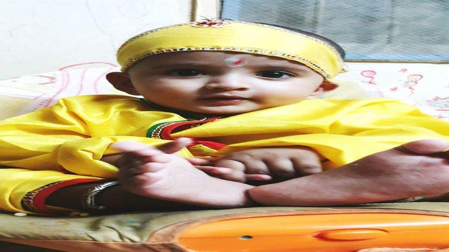 Week On Eyem EyeEmNewHere EyeEm Best Shots Cute Baby Boy Dressed As Little Krishna Traditional Dress Cuteeee♥♡♥ Indoors  Innocenceofachild