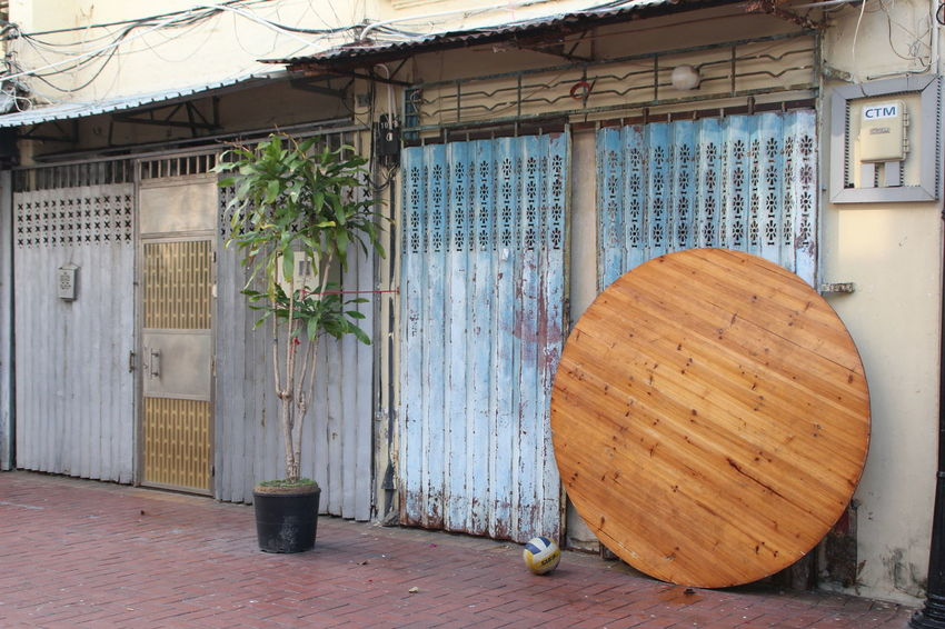 Architecture Ball Building Exterior Built Structure Day Door House Macau No People Outdoors Round Street Corner Table Taipa  Tree Wood - Material