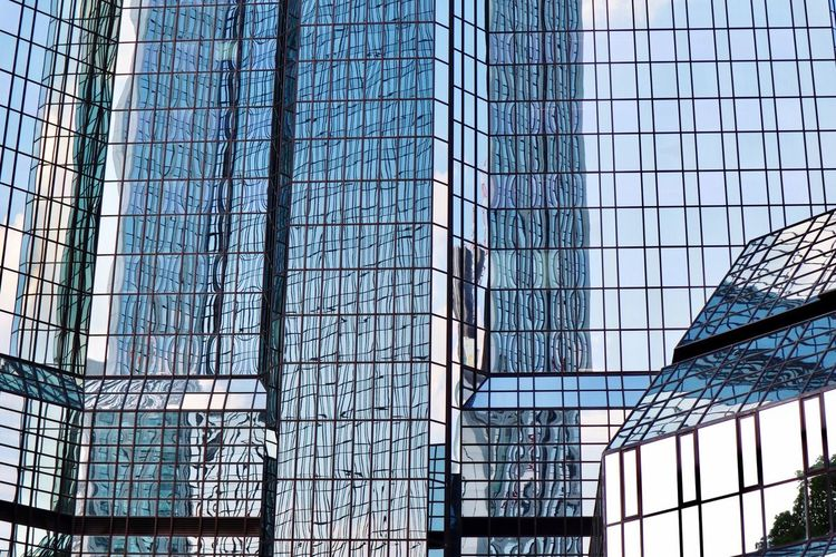 Glass - Material Window Architecture Built Structure Modern Day Low Angle View Blue Sky Indoors  Skyscraper No People Building Exterior City Corporate Business Germany Urban Cityscape Skyscraper View Frankfurt Am Main City Outdoors Reflection Tall Modern
