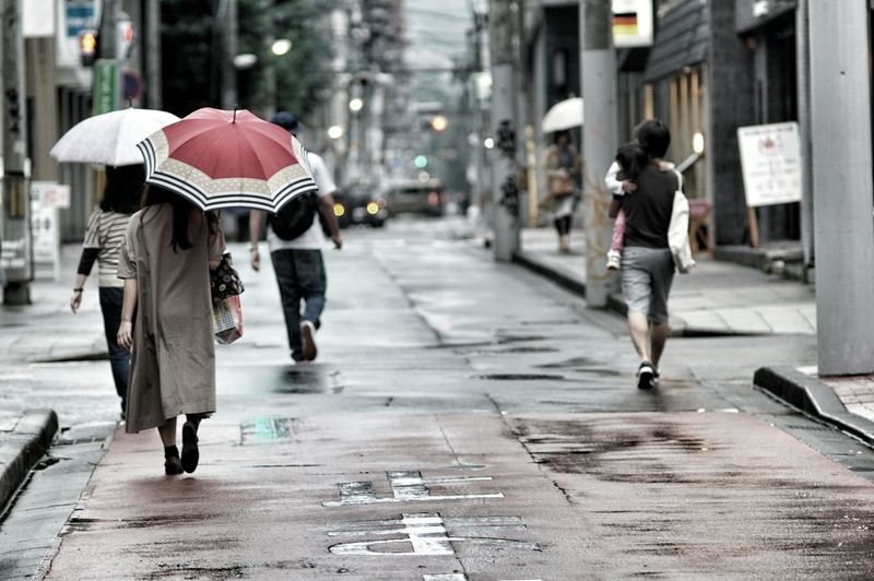 Rear view of people walking on wet street