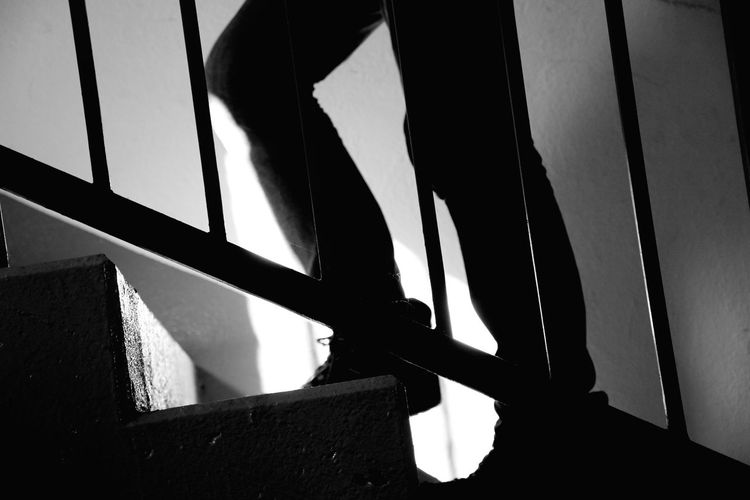 Human Legs Stairs Human Legs And Stairs Climb Stairs Black And White Light And Shadow Day Indoors