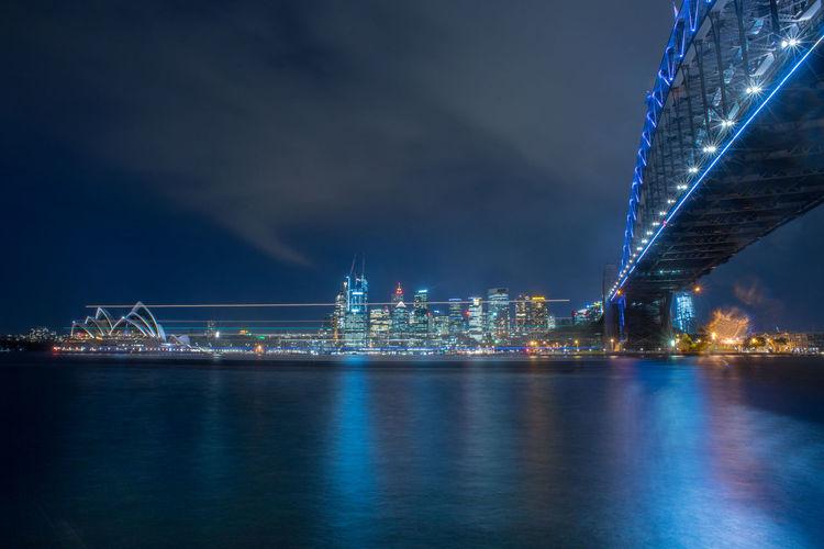Amazing view of sydney cbd during night.long exposure shot.