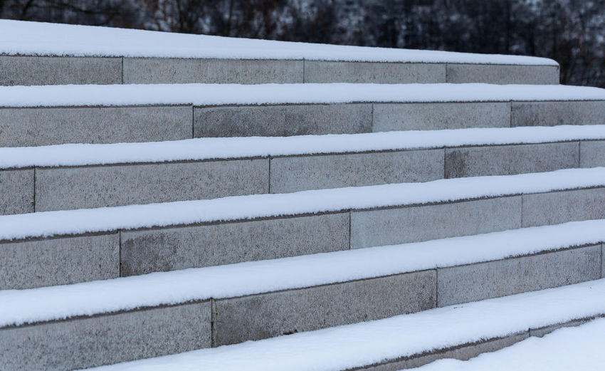 High angle view of snow covered steps