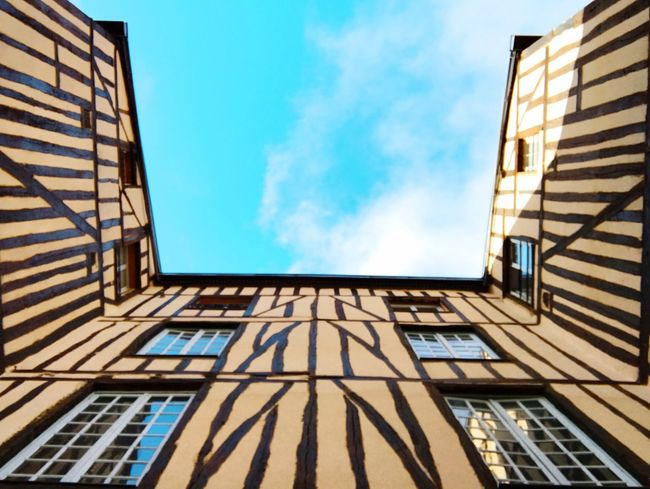 Colombages House Architecture Built Structure Building Exterior Low Angle View Sunlight Modern No People Sky Outdoors Day Stripe Clouds And Sky EyeEm Masterclass Exceptional Photographs Architectural Column Window View Window Architecture Reflection Minimalist