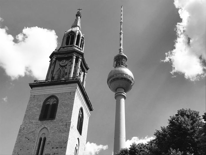 ▫️Clock tower of Marienkirche Berlin-Mitte and Fernsehturm (Television tower) - built around 1270▫️ Fernsehturm Berlin  Fernsehturm / Tv Tower Blackandwhite Black And White Clock Tower TV Tower Marienkirche Berlin-mitte EyEmNewHere EyeEmNewHere EyeEm Selects Bnw_friday_eyeemchallenge Bnw_clock_tower City Place Of Worship History Cultures Sky Architecture Building Exterior Built Structure