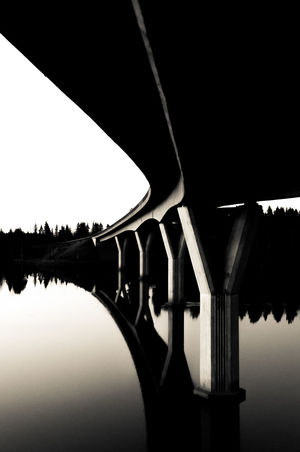 Under the bridge Architecture B&w Black & White Black And Awhite Bridge Bridge - Man Made Structure Built Structure Clear Sky Connection Contrast Day Forest Gradient Lake Low Angle View Nature No People Outdoors Reflection Repeat River Shadow Sky Water Water Reflections