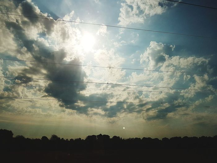 Train View Cloudy Cloudy Day Sun And Clouds Summer Landscape Travel Writing Flying Technology Flock Of Birds Silhouette Telephone Line Sky Cloud - Sky Power Line