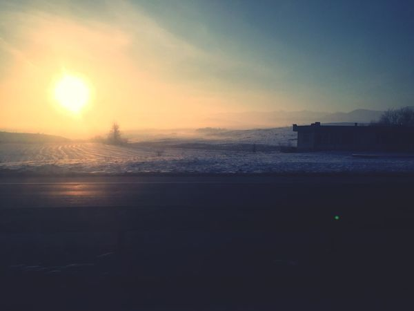 Air Cold Morning Sunrise Nature Sky Beauty In Nature Scenics No People Outdoors Sun Sunlight Silhouette Tranquility Day Shades Of Winter