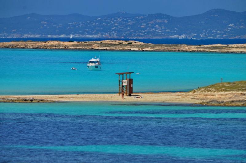 Observation Tower SPAIN Balearic Islands Beauty In Nature Blue Calm Coastline Formentera Mediterranean Sea Nature No People Outdoors Pitiusa Platja Des Pujols Sea Water Nautical Vessel Sky Day Scenics