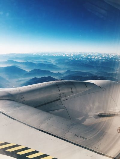 Airplane Transportation Airplane Wing Journey Air Vehicle Day No People Nature Beauty In Nature Outdoors Travel Aerial View Landscape Aircraft Wing Sky Scenics Mountain Blue