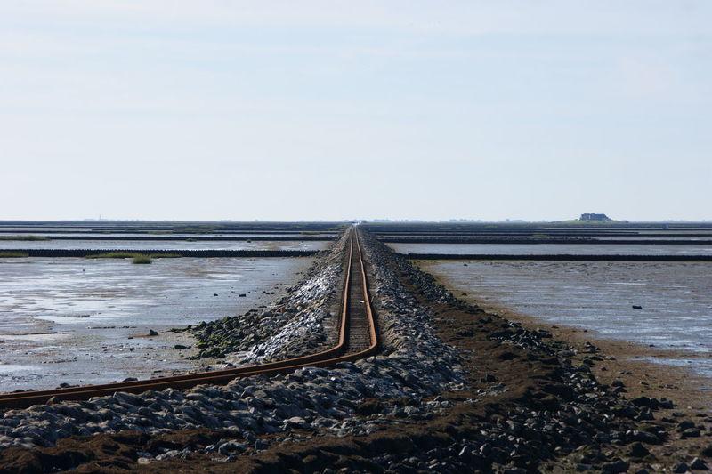 Railroad tracks on beach against clear sky