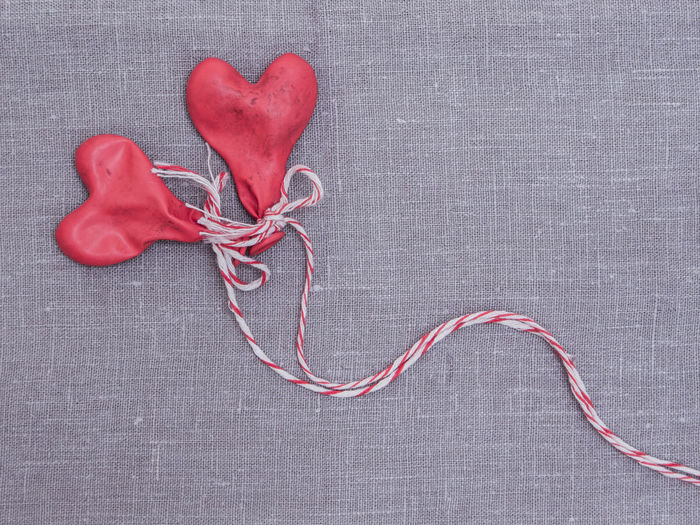 Backgrounds Balloons Canvas Close-up Grey Indoors  Linen Love No Air No People Red Textile Textured  Valentine's Day  White