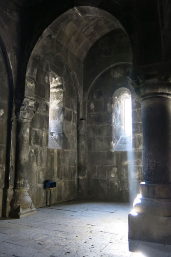 Armenia Geghard Geghard Monastery Ancient Arch Architectural Column Architecture Built Structure Day History Indoors  No People Oriental Orthodox Church Place Of Worship Religion Spirituality Sunlight Travel Destinations W-armenien