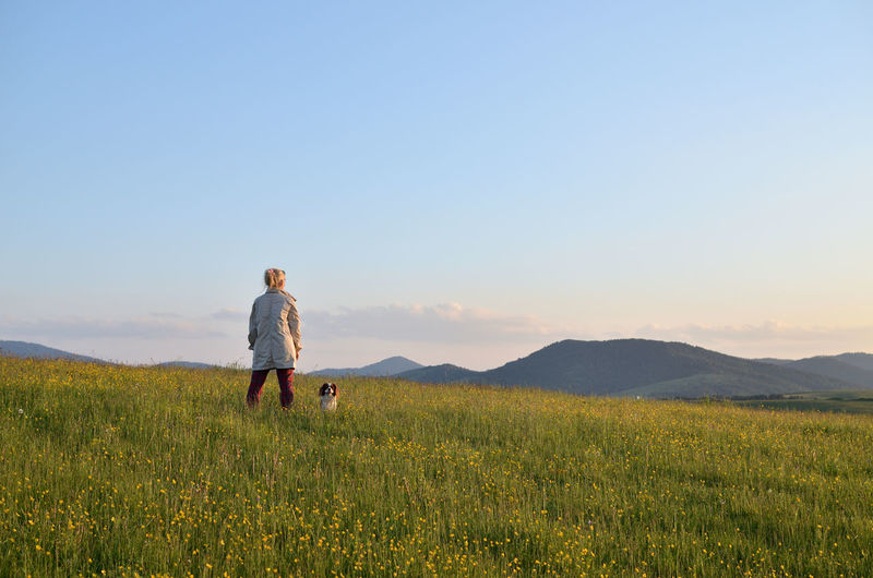 Woman with her dog in a mountain meadow watching landscape