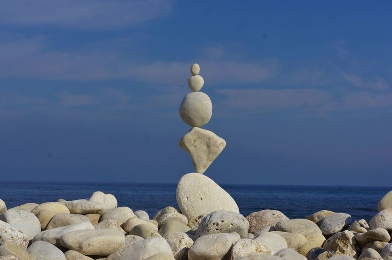 Beach Beach Zen Zen Rocks Zen-art Zen Close-up Representing Nature Cloud - Sky Sky Day Rock - Object Blue No People Outdoors