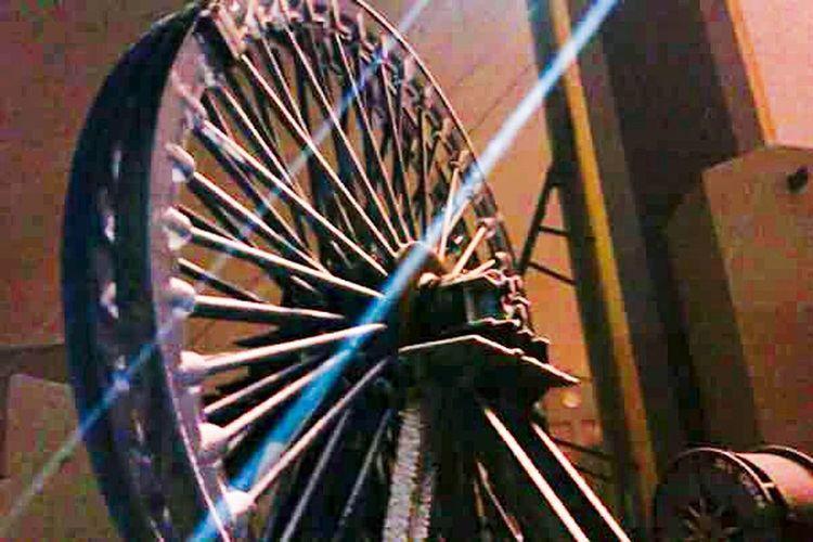 Winding Wheel Mine Pit Nightphotography Shafts Of Light No People Close-up Machinery