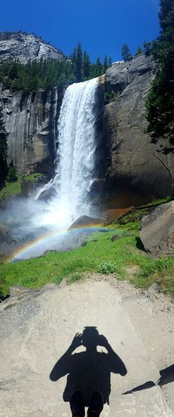 View of Vernal Falls halfway through hike.Showcase July Vernal Falls Yosemite Yosemite National Park Hiking Waterfall Rainbow Water Summer Shadow Silhouette
