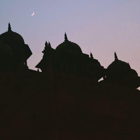 Bulanddarwaza Silhouette Moonrise Oldworldcharm Twilight Sky