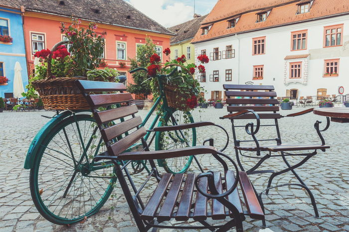 Bicycle in the main square Alternative Transportation Bicycle European Architecture European Cities European City Main Plaza Main Square Transportation Travel Travel Photography Urban Urban Decorations Vintage Bicycles The Architect - 2016 EyeEm Awards Feel The Journey Original Experiences On The Way Fine Art Photography Hidden Gems  Colour Of Life Eyeemphoto Neighborhood Map in Sighisoara Romania Your Ticket To Europe