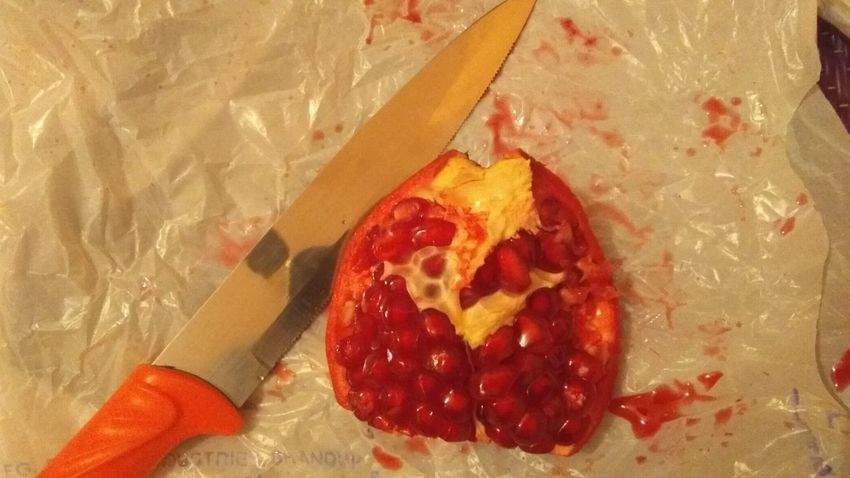 fresh fruit Pomegranate Fruit Healthy Red Knife Ready To Eat