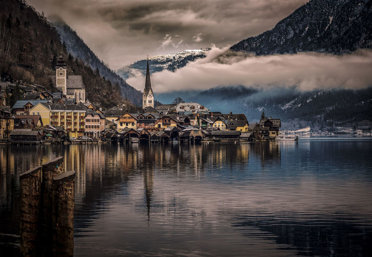 Architecture Authentic Building Exterior Built Structure City Cloud - Sky Dusk Hallstatt, Austria Mountain Mountain Range No People Outdoors Reflection Scenics Sky Skyline Town Travel Destinations Water