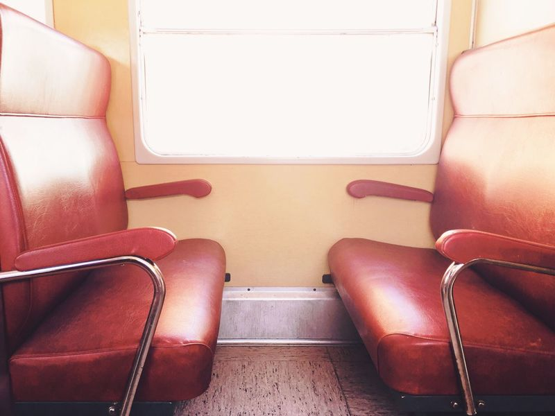 Vehicle Interior Empty Seat Vehicle Seat Chair Transportation Absence No People Indoors  Day Train Old Train Rack Railway Seats Window Inside