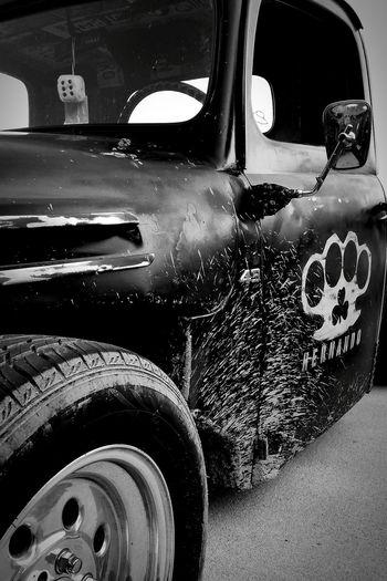 Antique Truck RatRod Muddy Black And White Black & White Rat Rod Brass Knuckles Hot Rod Rockabilly
