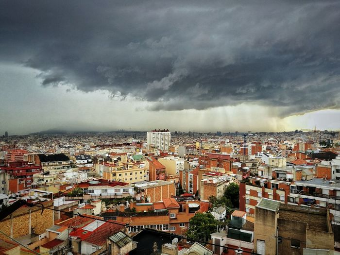 Barcelona now Storm Cityscape Outdoors Storm Cloud High Angle View Eyemphotography Barcelona
