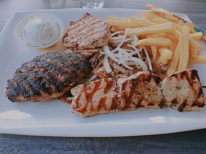 Lovely Greek Food esta noche Heremes Dish with Gyros Lovely Food Foodpic Foodspotting Food Photography