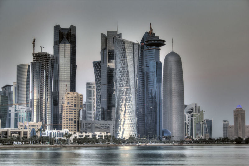 Doha Qatar skyline Cityscape Doha Doha City Doha Corniche Doha,Qatar Travel Architecture Building Exterior Built Structure City Cityscape Day Doha Qatar Doha_photography Downtown District Modern No People Outdoors Qatar Qatar Skyline Skyscraper Tower Travel Destinations Urban Skyline Waterfront