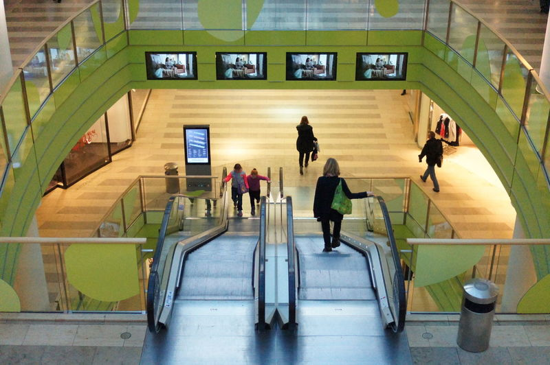 Berlin Spandau Arcaden  Escalators Stairways Green Color Green City My Smartphone Life Symetrical Poeple Street Photography Stairs Shopping Mall From My Point Of View Details Mall