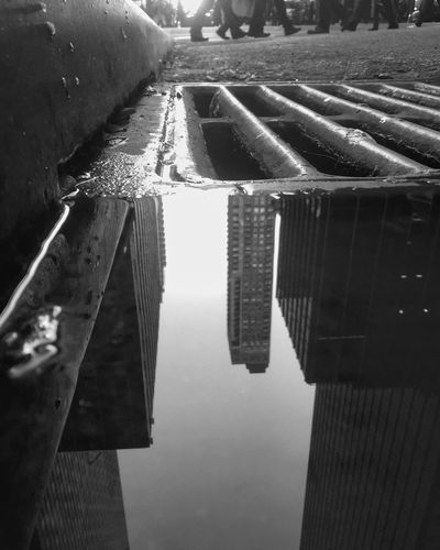Blackandwhite Outdoors Urban City Life TheMinimals (less Edit Juxt Photography) Low Angle View Puddleography Reflection Street Water City