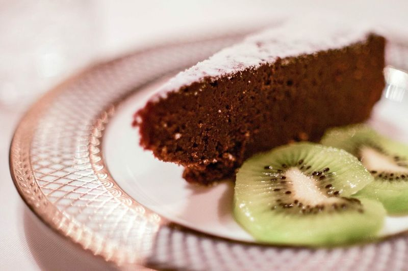 Close-Up Of Sweet Food With Kiwi In Plate