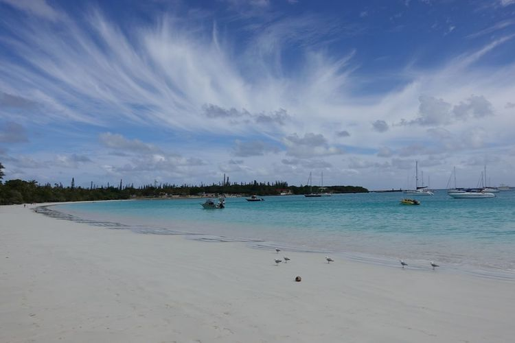 Turquoise blue Kuto beach in Isle of Pines, New Caledonia No People Summer Scene Summer Vibes Summertime Summer Ship Boat Isle Of Pines Turquoise Blue Melanesia New Caledonia Ile Des Pins No People Shore White Sand Skyblue Water Beach Sky Sea Land Beauty In Nature Sand Scenics - Nature Cloud - Sky Nature Travel Destinations Travel Outdoors