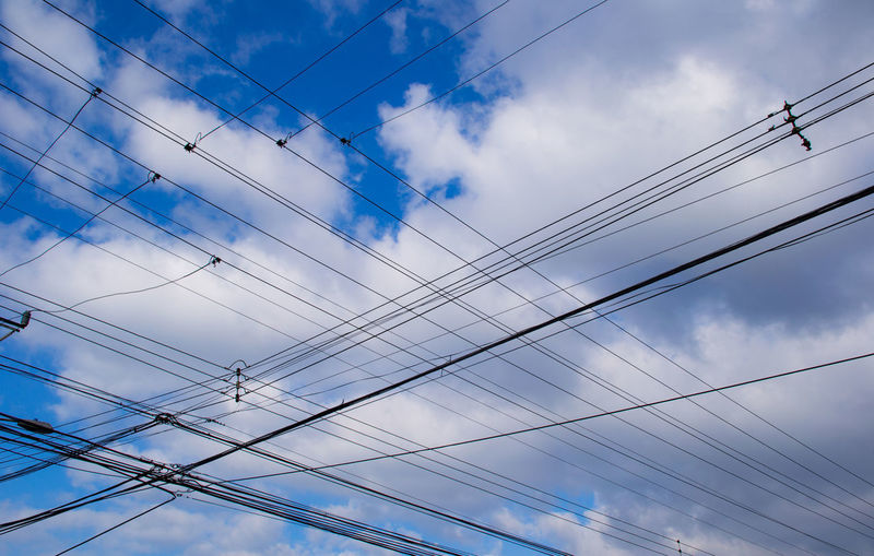 Cable Central America Clouds Costa Rica Criss Cross Electricity  Intersectinglines Intersection Low Angle View No People Power Cable Power Line  Power Supply San Jose Sky