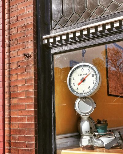 BUTCHER SHOP ~ Kansas City, Missouri USA ~ Clock Time Brick Wall No People Indoors  Day Close-up Minute Hand Gauge Pressure Gauge Architecture Residential Structure Residential Building Kcac Artist Patina_perfection Missouri Façade Building Exterior Walker Evans Relic From The Past Urbanexploration Urbanphotography Urbanphotography Cityscape Street Views Urban Exploration Edward Hopper