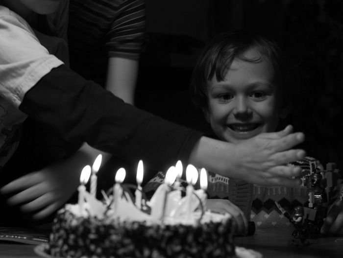 Candle Birthday Cake Celebration Birthday Cake Birthday Candles Indoors  Flame Sweet Food Togetherness Son Human Body Part Childhood One Boy Only Children Only Child Boy Kid Close-up Cake Blackandwhite Black And White
