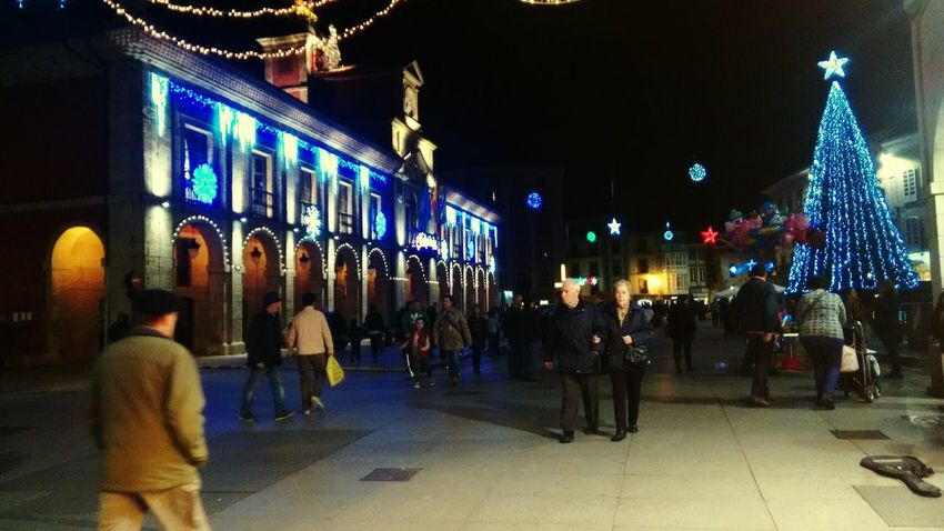 Aviles, Asturias town Hall with chritsmas lights
