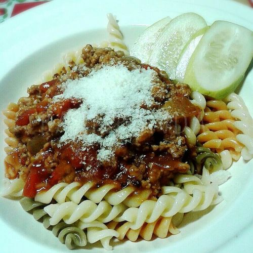 Brunch @home》》 fusilli with minced pork in tomato sauce Fusilli Pasta Ilovecooking Brunchtime