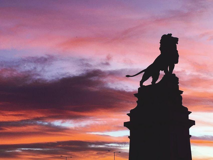 Statue Sculpture Sunset Löwenbrücke Wien