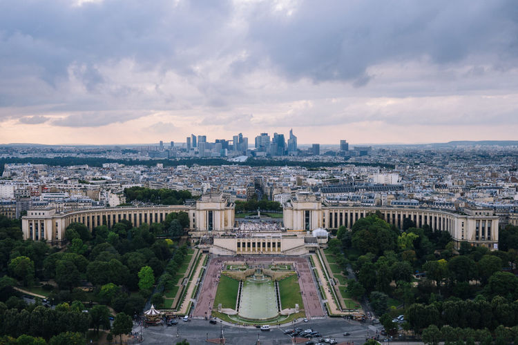 High angle view of palais de chaillot against cityscape
