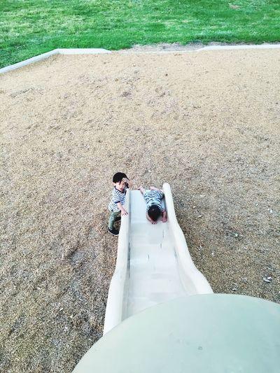 High angle view of boys on playground