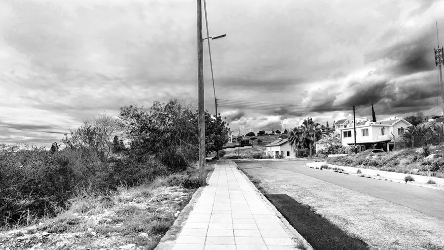 Cloud - Sky Architecture Sky Plant Tree Building Exterior Built Structure Nature Transportation Road Day The Way Forward Direction Street No People Building City Outdoors Footpath EyeEm Best Shots EyeEm Landscape Blackandwhite Black And White Black & White
