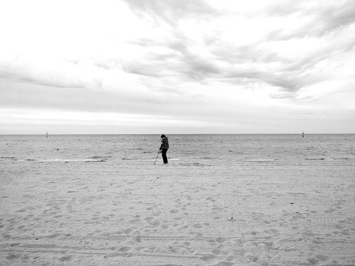 Metal Detector Beach Photography Sea Sun Blackandwhite People Beach Real People Outdoors Blackandwhite Photography Leisure Activity Horizon Over Water Tranquil Scene Adults Only Sand One Man Only One Person Adult Day