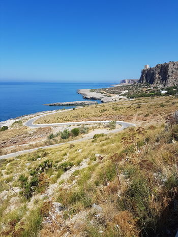 No People Tranquil Scene Castle On A Hill Way Along The Coast Intense Blue Beauty In Nature Scenics Sicily Landscape No Filter, No Edit, Just Photography