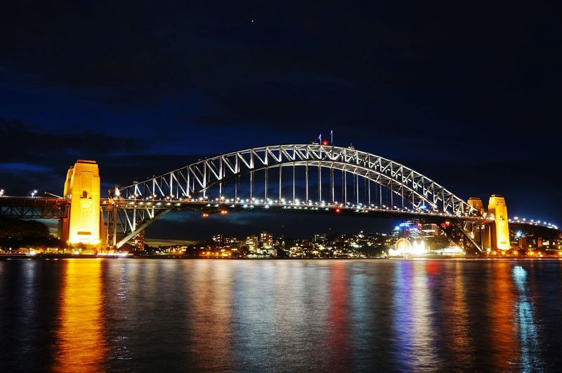 Sydney Bridge Australia Australia Streetphotography Night Illuminated Travel Destinations Arts Culture And Entertainment Bridge - Man Made Structure Cityscape Vacations City Architecture Nightlife Midnight Outdoors Urban Skyline Premiere No People Sky