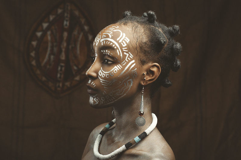 Close up portrait of african woman .depiction of kikuyu woman from kenya